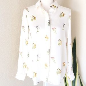 💐H&M💐cream, long sleeve floral print blouse Sz8
